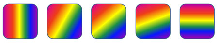 Shapes filled with linear gradients rotated to different angle values
