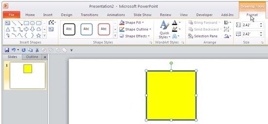 Drawing Tools Format tab of the Ribbon