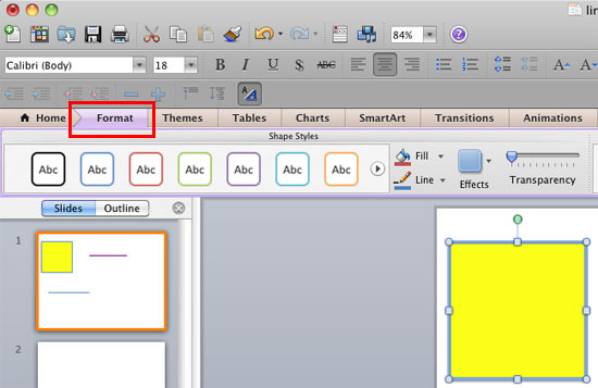Format tab of the Ribbon