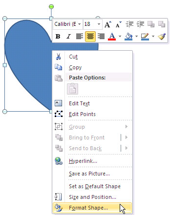 Fomat Shape option selected in the context menu