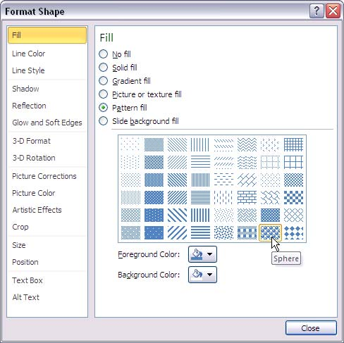 Format Shape dialog box with pattern gallery