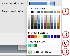 Color drop-down gallery