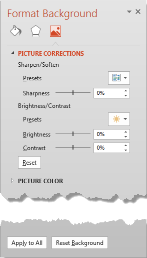 Picture Corrections options within Format Background Task Pane