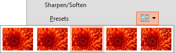 Sharpen/Soften Presets drop-down gallery