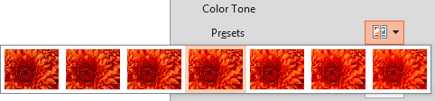 Color Tone Presets drop-down gallery