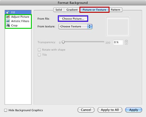 Picture or Texture tab selected within the Format Background dialog box