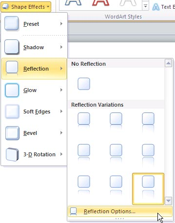 Reflection options within the Shape Effects gallery
