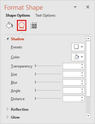 Shadow editing options within Format Shape Task Pane