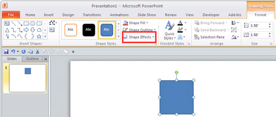 Drawing Tools Format tab of the Ribbon in PowerPoint