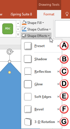 Shape Effects drop-down gallery