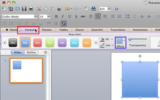 Format tab of the Ribbon selected in PowerPoint 2011
