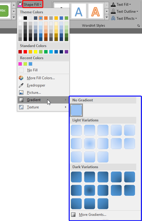 Gradient sub-gallery within the Shape Fill drop-down gallery