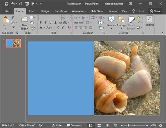 PowerPoint presentation with a picture background