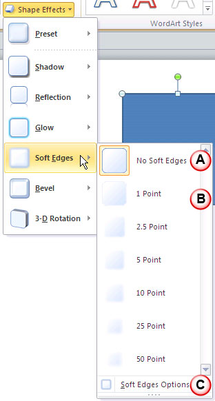 Soft Edges Option selected within the Shape  Effects gallery