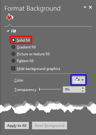 Solid fill radio button selected within the Format Background Task Pane