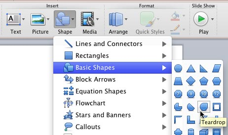 Shape gallery in PowerPoint 2011