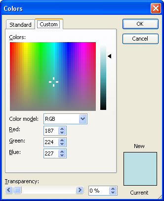 Custom tab of the Colors dialog box