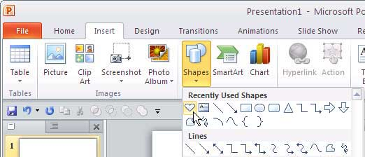 Shapes gallery in PowerPoint