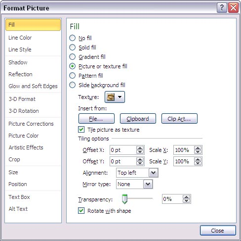 Format Picture dialog box