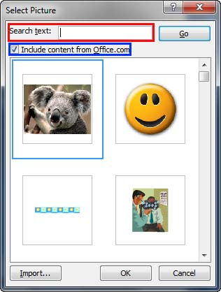 Select Picture dialog box