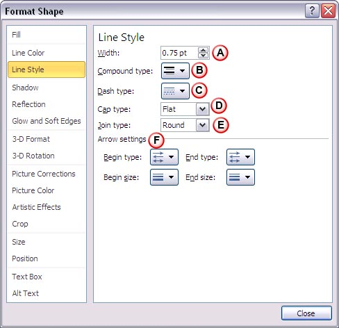Format Shape dialog box with Line Style options
