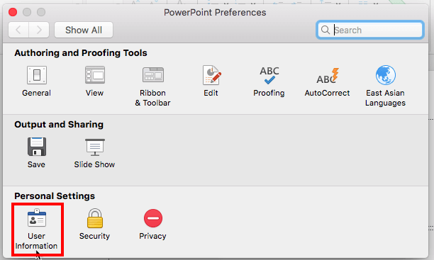 PowerPoint Preferences dialog box