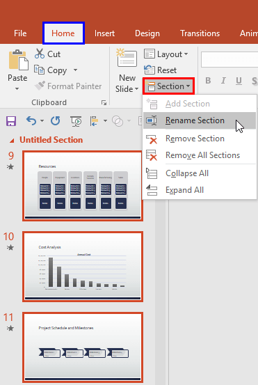 Rename Section option within the Section drop-down menu