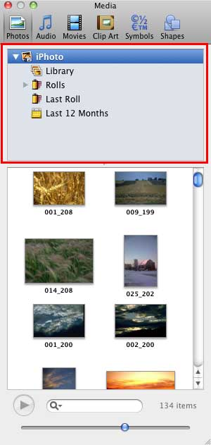 Folder/Browser pane displaying iPhoto content