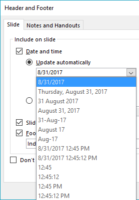 Date (or date and time) format drop-down list
