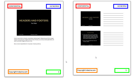 Header and Footer elements in Notes and Handouts