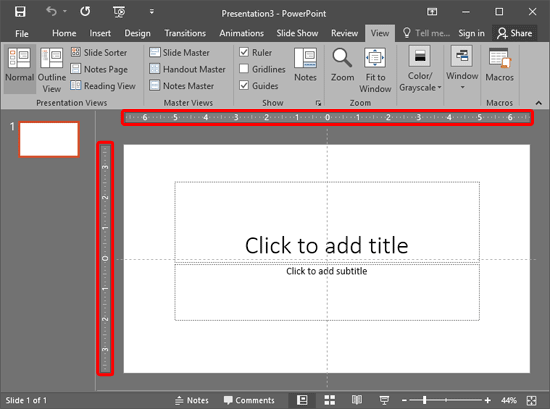 Rulers made visible in PowerPoint