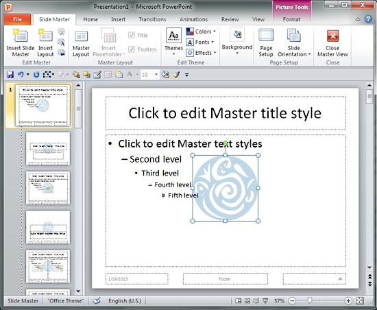 Add your logo or graphic to the slide master in powerpoint 2010 logo inserted within the slide master and slide layouts toneelgroepblik Images