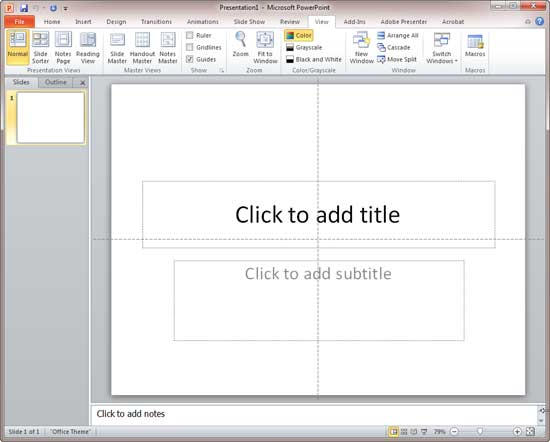 A PowerPoint presentation with guides