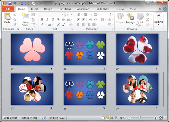 Applying slide masters to individual slides in powerpoint 2010 for slides within slide sorter view toneelgroepblik Gallery