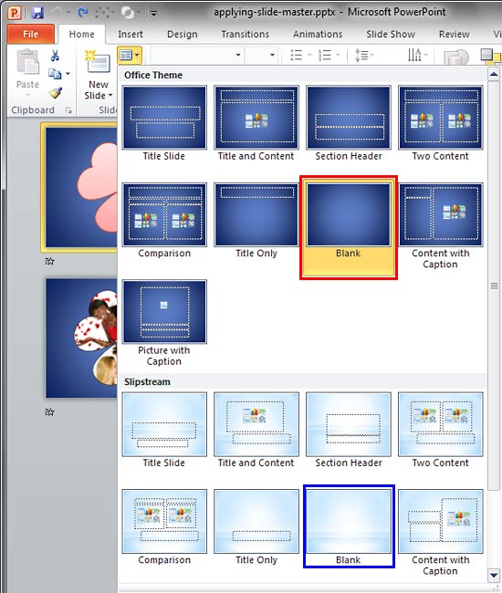 Applying slide masters to individual slides in powerpoint 2010 for layout drop down gallery toneelgroepblik Image collections
