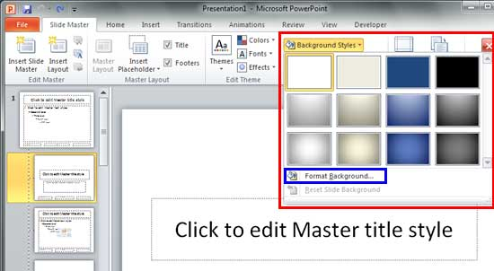 Custom Backgrounds for Slide Master and Layouts in PowerPoint 2010