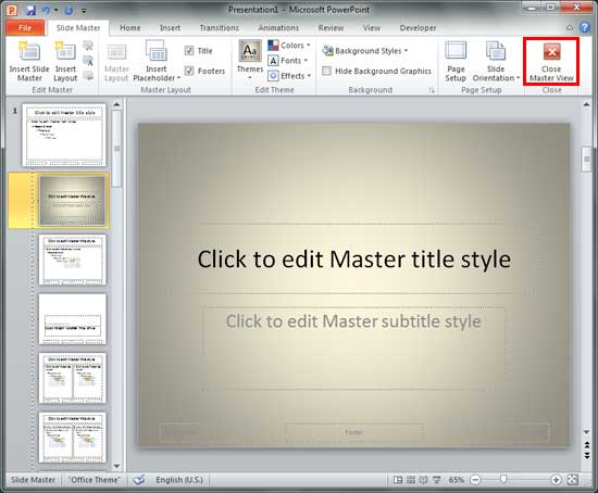 Change Background Styles for Slide Layouts in PowerPoint 2010 for