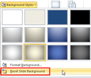 Reset Slide Background option within the Background Styles gallery