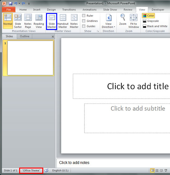 microsoft office and open slide master From the powerpoint faq: create your own default presentation.