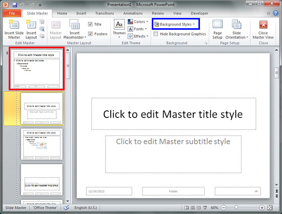 Change Background Styles in the Slide Master in PowerPoint 2010 ...