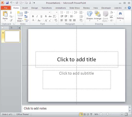 Blank presentation with one slide