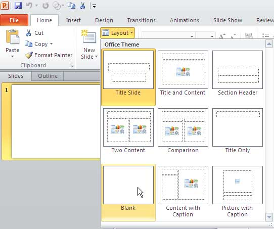 Change Slide Layout in PowerPoint 2010 for Windows