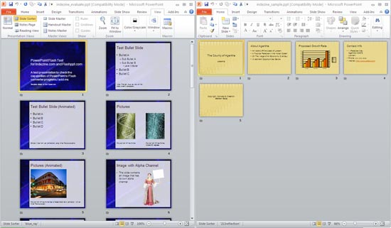 Presentations in Slide Sorter view