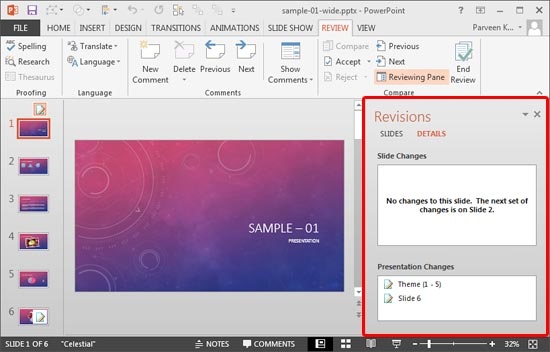 comparing and merging presentations in powerpoint 2013 for windows