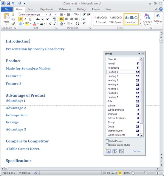 Creating powerpoint outlines in microsoft word 2010 for for Word 2010 templates and add ins