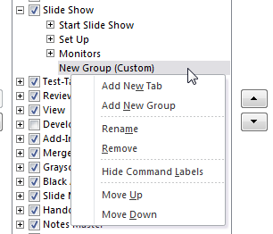Right-click the Custom Group to get a contextual menu