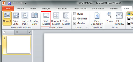 Slide Master button within Master Views group of View tab of the Ribbon