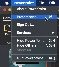 PowerPoint | Preferences menu option