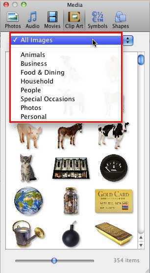 Categories within Clip Art tab of Media Browser