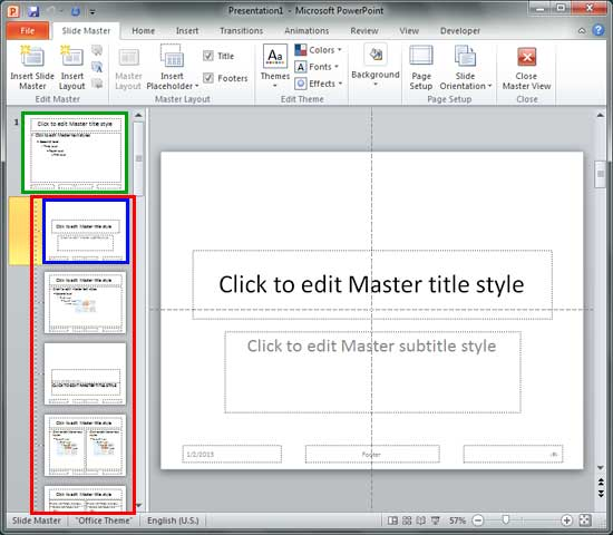 Slide Layouts within Slide Master view